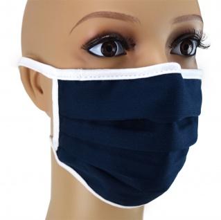 TigerTie Gesichtsmaske mit Nasenbügel in marine einfarbig mit Schnürbändchen