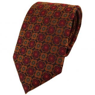 TigerTie Designer Krawatte in kupfer schwarz weinrot gemustert - Binder