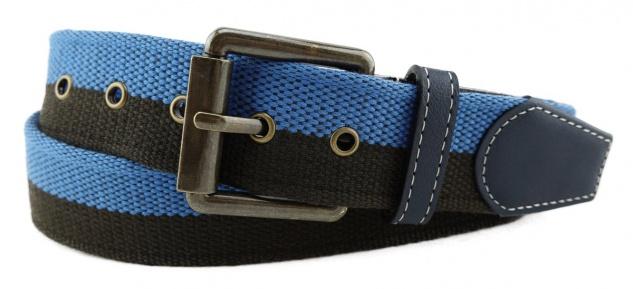TigerTie - Stoffgürtel in blau dunkelbraun zweifarbig - Bundweite 90 cm