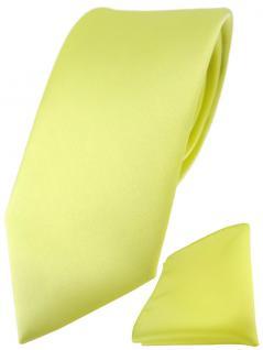 TigerTie Designer Krawatte + TigerTie Einstecktuch in zitronengelb einfarbig uni