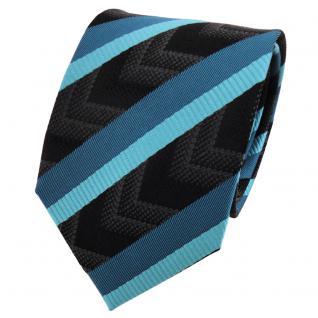 TigerTie Seidenkrawatte türkis wasserblau schwarz anthrazit gestreift - Krawatte