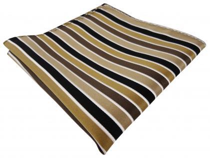 TigerTie Designer Seideneinstecktuch in braun beige anthrazit creme gestreift