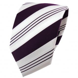 TigerTie Satin Krawatte lila dunkellila weiß silber gestreift - Binder Schlips