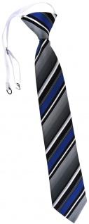 TigerTie Kinderkrawatte blau silber grau weiss schwarz gestreift - mit Gummizug