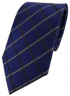 schöne Designer Seidenkrawatte blau grau schwarz kariert - Krawatte 100% Seide