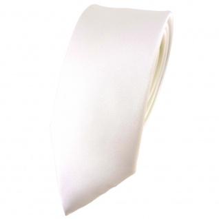 schmale TigerTie Satin Seidenkrawatte creme weiss einfarbig - Krawatte Seide