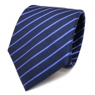 Designer Seidenkrawatte blau dunkelblau marine gestreift - Krawatte Seide Binder - Vorschau 2