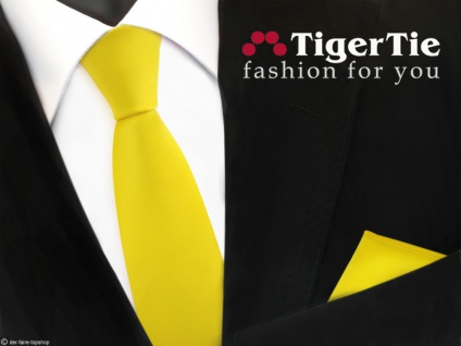 schmale TigerTie Satin Krawatte + Einstecktuch gelb leuchtgelb knallgelb Uni - Vorschau 1