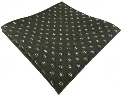TigerTie handrolliertes Seideneinstecktuch in grün blau gold schwarz Paisley