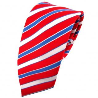TigerTie Krawatte rot verkehrsrot knallrot blau weiß gestreift - Binder Tie