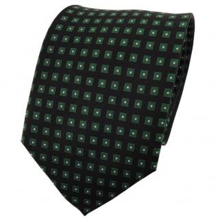 TigerTie Seidenkrawatte grün schwarz silber kariert - Krawatte 100% Seide