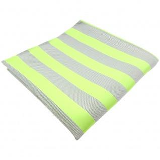 TigerTie Einstecktuch in hellgrün grausilber gestreift - Tuch 100% Polyester