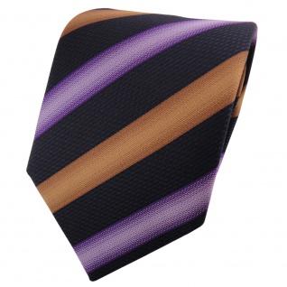 TigerTie Krawatte lila flieder braun schwarz gestreift - Schlips Binder Tie
