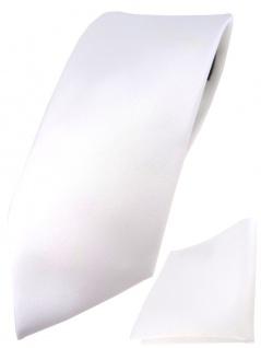 TigerTie Designer Krawatte + TigerTie Einstecktuch in weiss einfarbig uni