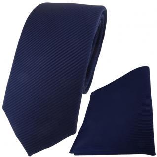 TigerTie Krawatte + Einstecktuch in marine dunkelblau fein gestreift