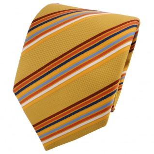 TigerTie Krawatte gelb dunkelgelb orange blau weiß gestreift - Binder Schlips