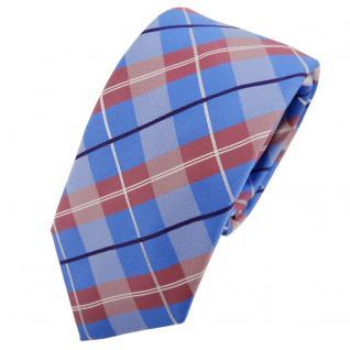 Schmale TigerTie Seidenkrawatte blau rosé lila silber kariert - Krawatte Seide
