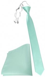 XXL TigerTie Sicherheits Krawatte + Einstecktuch in mint grün einfarbig Uni Rips