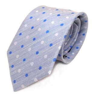 Mexx Designer Krawatte blau hellblau weiß gepunktet - Seide Leinen Binder Tie