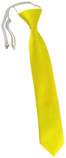 TigerTie Kinderkrawatte in gelb Uni - Krawatte vorgebunden mit Gummizug