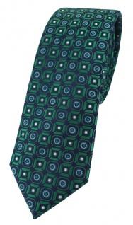 schmale TigerTie Designer Krawatte in grün blau silber schwarz gemustert