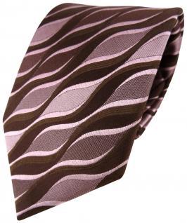 Seidenkrawatte rosa braun dunkelbraun Wellenmotiv - Krawatte Seide Tie Binder