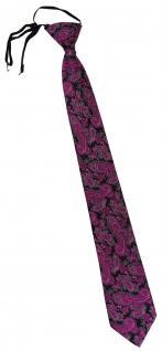 TigerTie Security Sicherheits Krawatte magenta schwarz silber Paisley gemustert