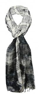 Chiffon Schal schwarz anthrazit beige creme kariert mit Fransen - Gr. 180 x 50cm