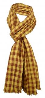 gecrashter Schal in gelb ocker braun kariert mit Fransen - Gr. 180 x 50 cm