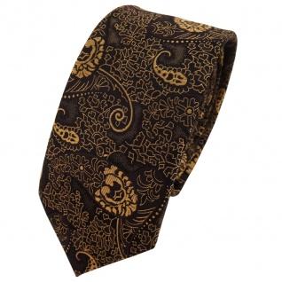 schmale TigerTie Krawatte gold bronze schwarz Paisley - Binder Tie Polyester