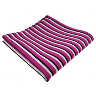 TigerTie Einstecktuch in pink schwarz weiß - Tuch 100% Polyester