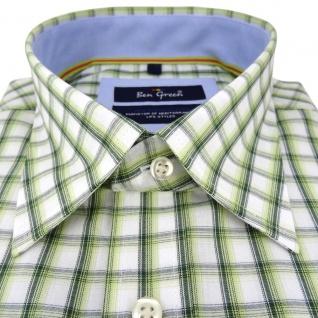 Ben Green Herrenhemd grün weiß kariert langarm bügelleicht - Hemd Gr.43/44 XL - Vorschau 2