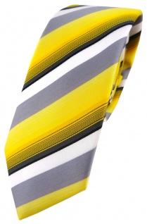 schmale TigerTie Designer Krawatte gelb grau weiss schwarz anthrazit gestreift