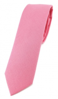 TigerTie - schmale Krawatte rosa pink unicolor - Breite 5, 5 cm - 100% Baumwolle