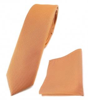 schmale TigerTie Krawatte + Einstecktuch in lachs fein gepunktet - Breite 4, 5 cm