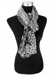 Schal in schwarz anthrazit grau gemustert - Größe180 x 70 cm - Modal/Wolle