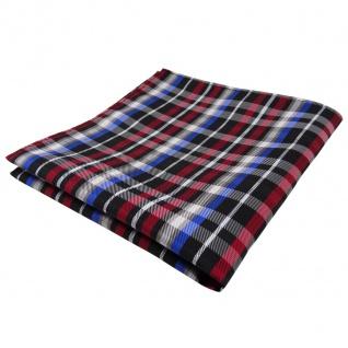 TigerTie Einstecktuch rot blau beige schwarz silber kariert - Tuch Polyester