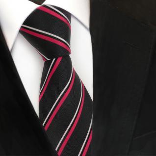 Designer Seidenkrawatte schwarz rot silber gestreift - Krawatte Seide Tie