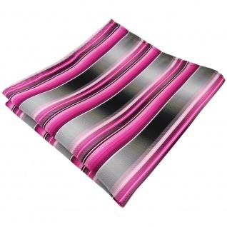 TigerTie Einstecktuch rosa pink magenta anthrazit silber grau gestreift - Tuch