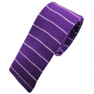 Schmale Strickkrawatte lila violett weiß silber gestreift - Krawatte Polyester