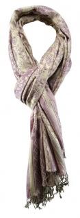 TigerTie Schal in altrosa lila grau gemustert mit Fransen