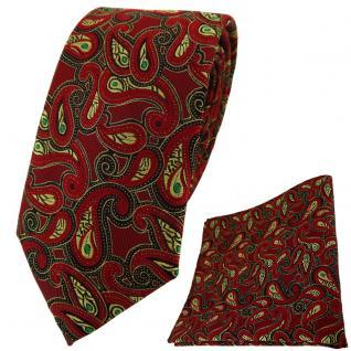TigerTie Krawatte + Einstecktuch in rot gold grün schwarz Paisley