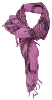 Halstuch rosa fuchsia grau gemustert -Fransen an zwei Seiten -Gr. 100 x 100 cm