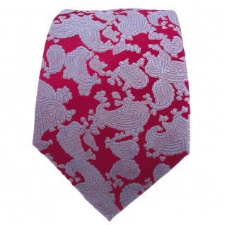 Designer Seidenkrawatte rot rubinrot blau Paisley gemustert - Krawatte Seide - Vorschau 2