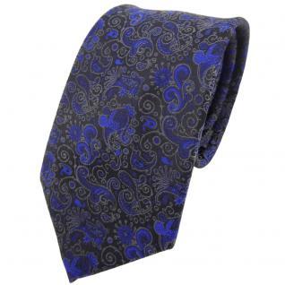 TigerTie Krawatte blau dunkelblau schwarz grau gemustert Paisley - Binder Tie