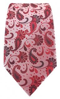 TigerTie Designer Krawatte in rot weinrot rosa anthrazit Paisley gemustert - Vorschau 2