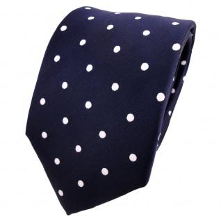 TigerTie Designer Krawatte blau dunkelblau royal weiß gepunktet - Schlips Binder