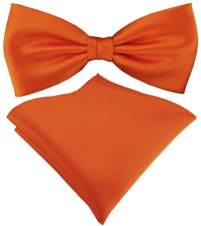 TigerTie Satin Fliege + TigerTie Einstecktuch in orange Uni Einfarbig + Box