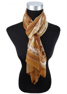 Damen Chiffon Schal Halstuch braun beige creme Motive Gr. 160 cm x 50 cm - Tuch