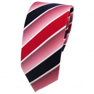 Schmale TigerTie Krawatte rot knallrot dunkelblau weiß gestreift - Binder Tie